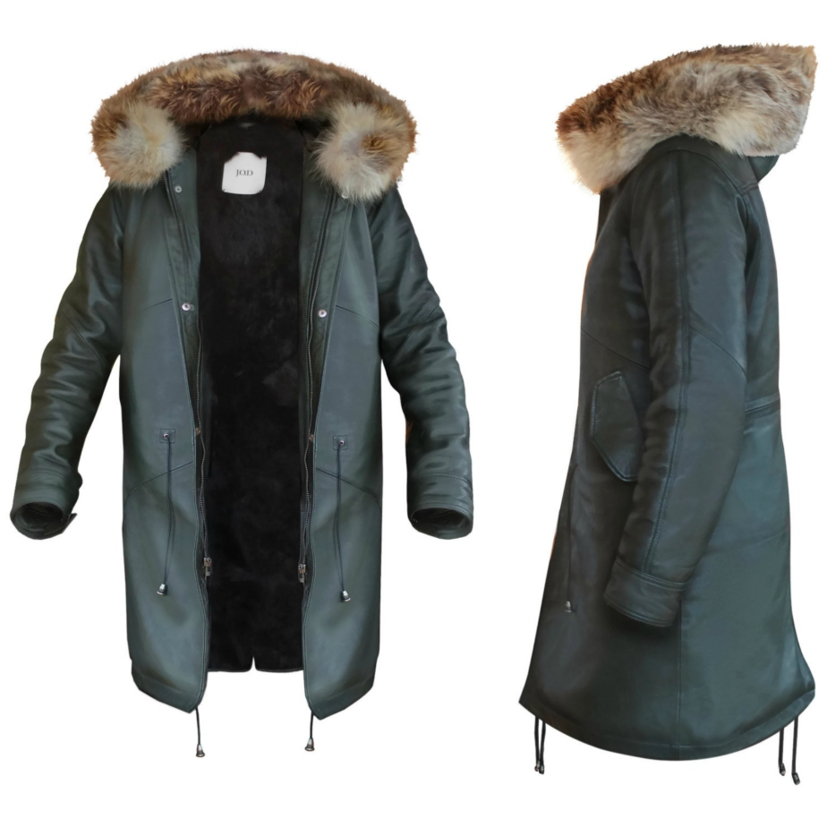 Olive Leather with Rabbit Fur Lined Parka de JODClothing