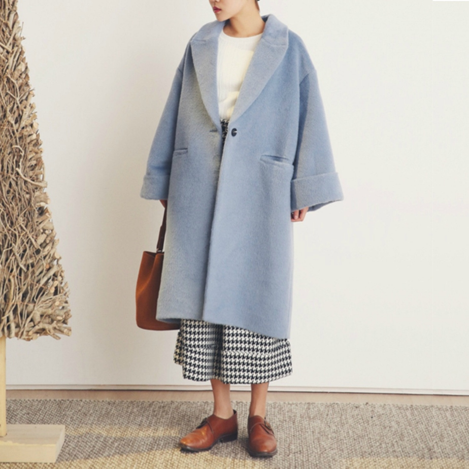 La Chic Parisienne Collection baby blue alpaca wool designed coat by PurpleFishBowl