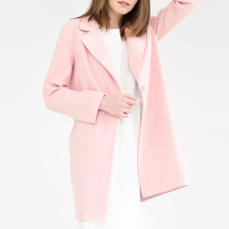 Spring pink coat, wool coat, rose quartz coat by SumarokovaAtelier