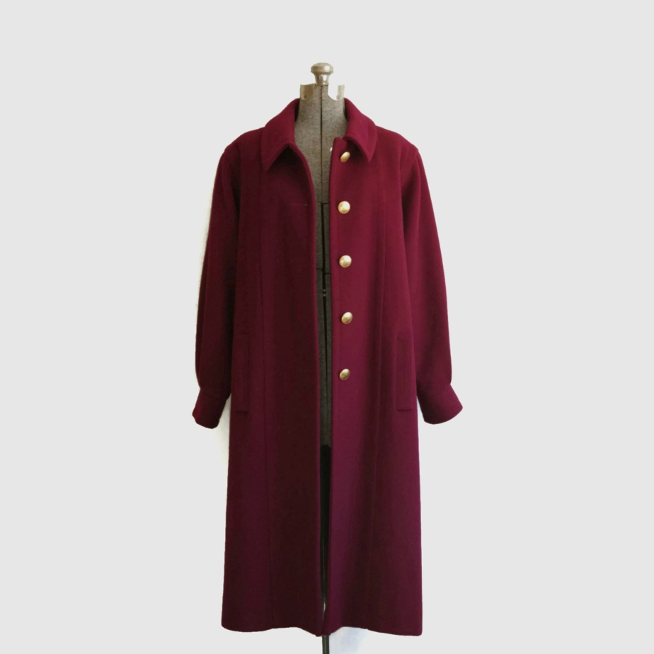 1990s Kristen Blake Maroon Long Wool Coat by TheFoundAttic
