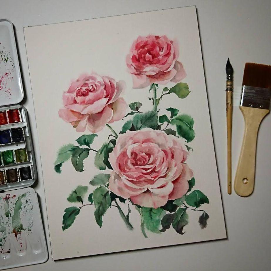 Rosas pintadas en acuarela por Wei Taillandier