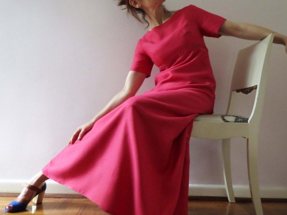 Vintage 60s Maxi Dress, Magenta Pink by VictoriaWestbury