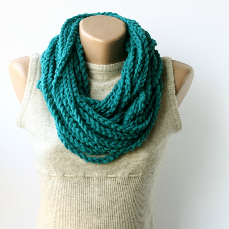 Teal Infinity Scarf by ViolasBoutique