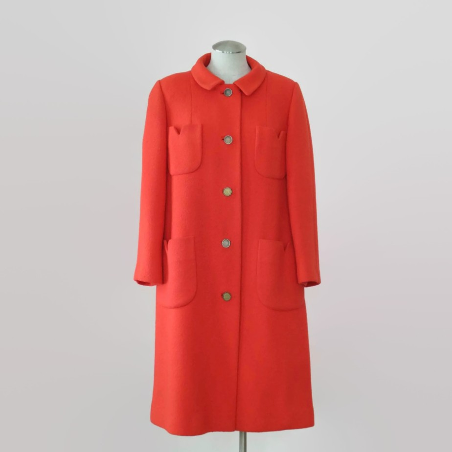 Stunning 1960s women's bright orange, fully lined coat by WheresMyCuppa
