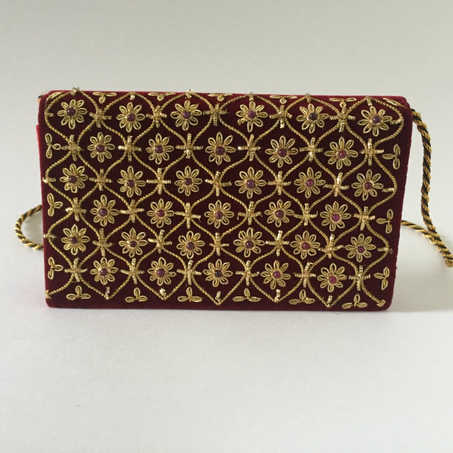 Unique Vintage One Of A Kind Shoulder Purse Gold Embellishment Red Velvet Cute de YouandMeTimes