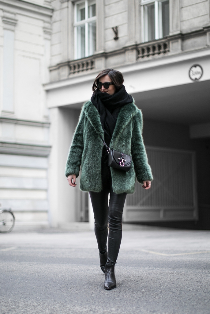 Green Faux Fur Coat D.Efect - Blog And The City