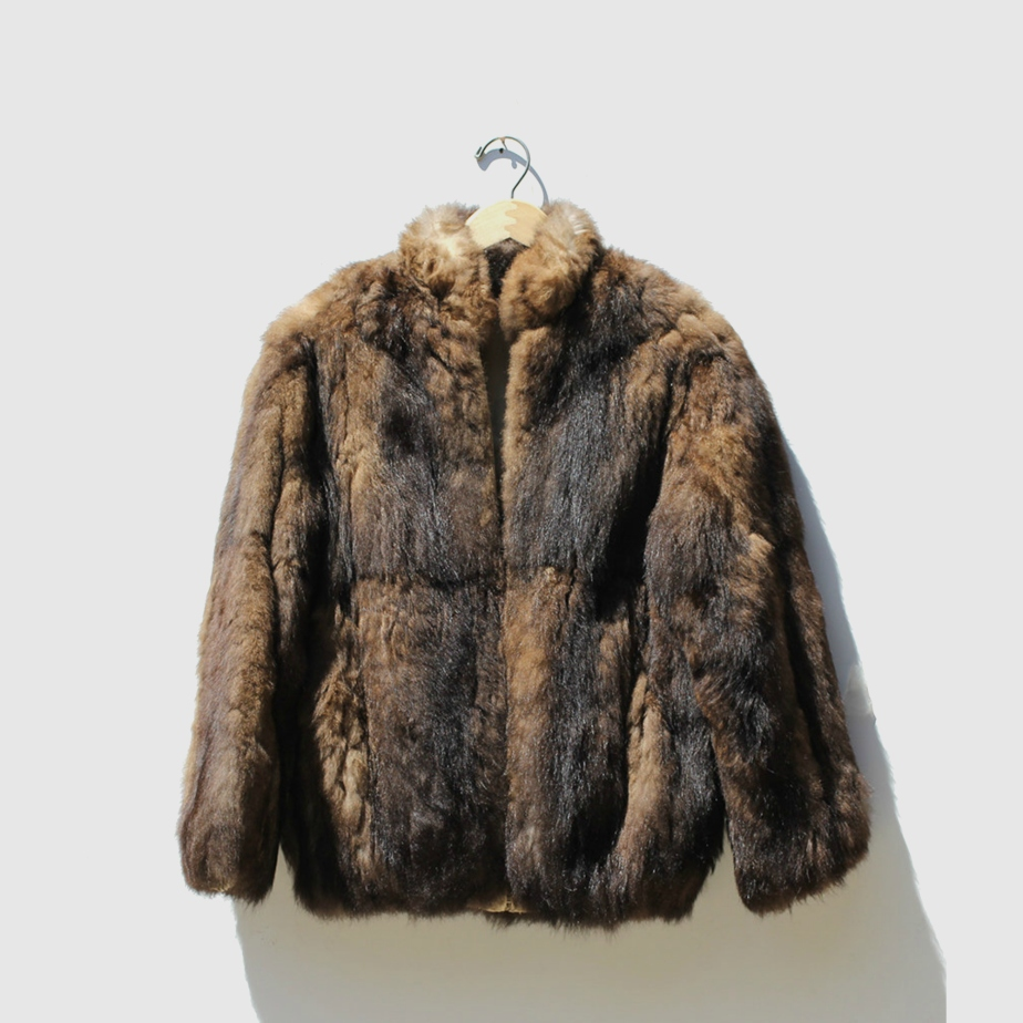 Brown Two Tone Faux Fur Jacket de TanakaVintage
