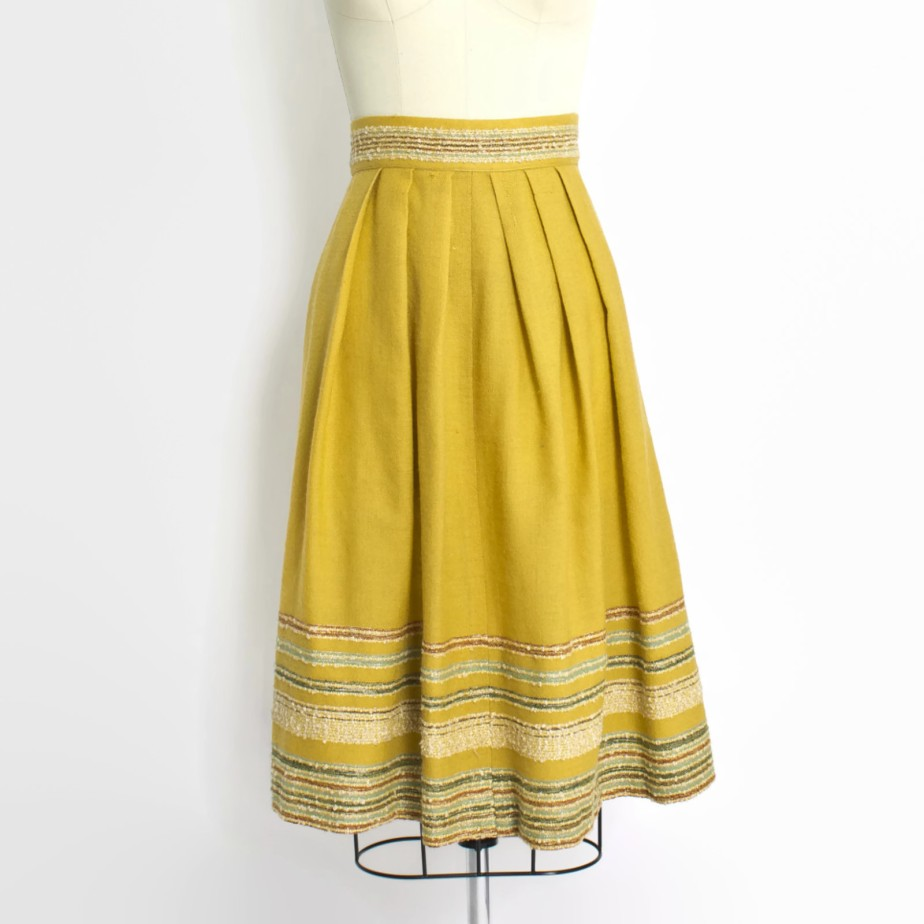 Vintage 50s Skirt - Mustard Yellow de dejavintageboutique