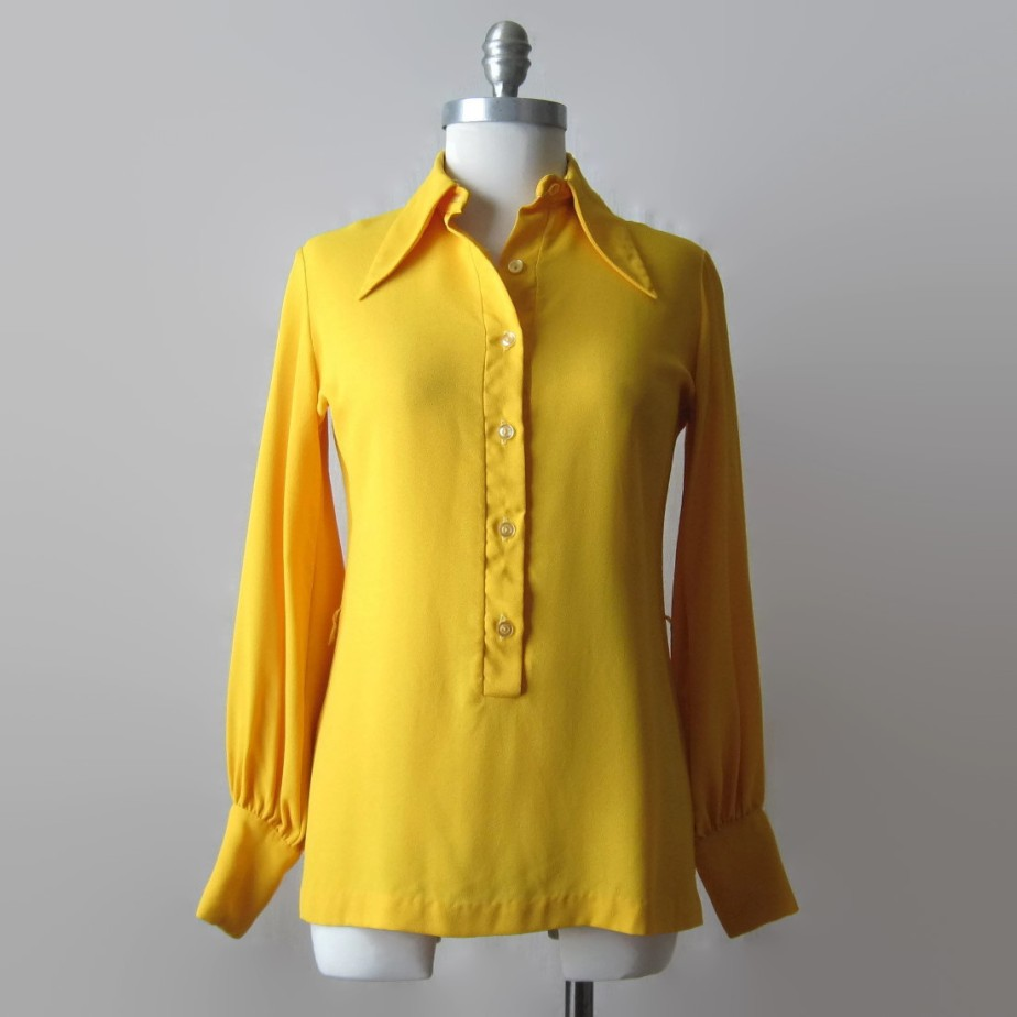 Yellow Blouse Vintage Shirt 60s 70s de ultravioletvintage